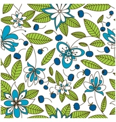 Blueberry seamless pattern with flowers vector
