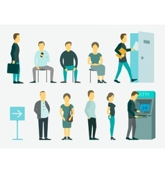 Set with people queue the atm vector