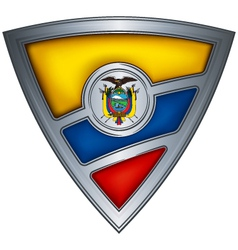 Steel shield with flag ecuador vector