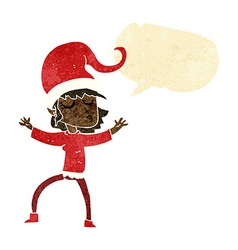 Santas helper cartoon with speech bubble vector