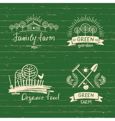 Set logos family farmlogo organic food hand vector