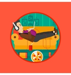 Man lying on sofa with many gadgets vector