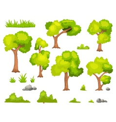 Set of cartoon green plant and tree vector