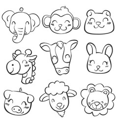 animal head doodle style vector image vector image
