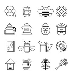 Apiary honey icons set outline style vector