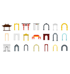 Arch icon set flat style vector