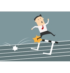 Businessman stumbled onto the barrier vector image