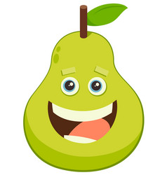 cartoon pear fruit character vector image vector image