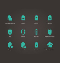 Collection of smart watch and payment app icons vector