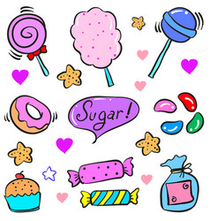 Collection stock candy various doodle style vector