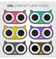 Colorful owl contact lens cases vector image