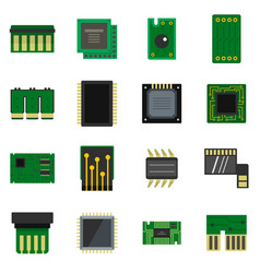 computer chips icons set in flat style vector image vector image