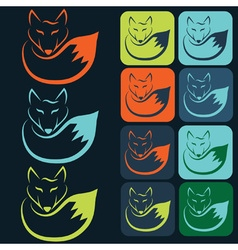 flat designs and icons of fox vector image