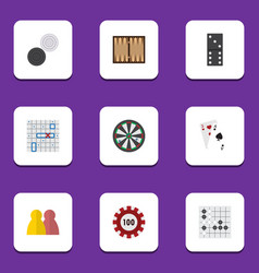 Flat icon games set of gomoku dice arrow and vector