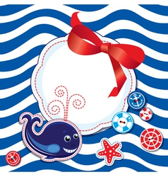 Funny Card with whale buttons bow vector image vector image