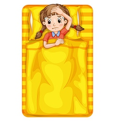 Girl feeling sick in bed vector image vector image