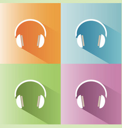 Headphones icon on a colored background vector