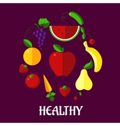 Healthy eating poster with fruits and vegetabkes vector image
