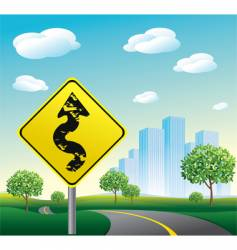 highway road to cityscape illustration vector image vector image