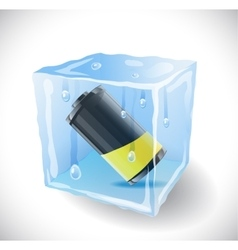Ice cube with battery vector image vector image