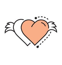Icon twins hearts wings line design vector