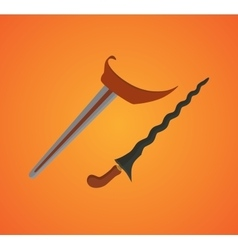 indonesia legendary weapon keris with orange vector image vector image