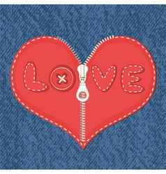Jeans background and heart with zipper vector image
