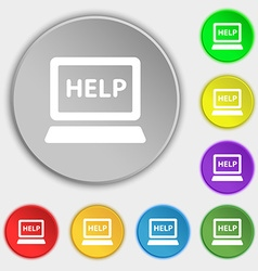 Laptop tech service icon sign symbol on eight flat vector