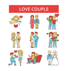 love couple thin line icons linear vector image