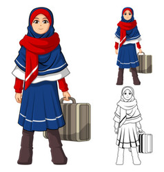 Muslim girl fashion wearing blue red veil or scarf vector