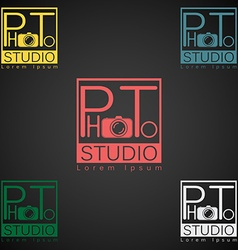 Photo studio logo mock up dark sample text vector image