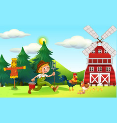 Scene with farmer and windmill vector