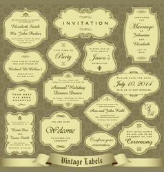 set of labels tickets marks and invitations vector image vector image