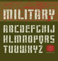 Stencil plate sans serif font military vector