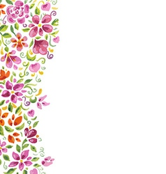 Watercolor flowers card vector