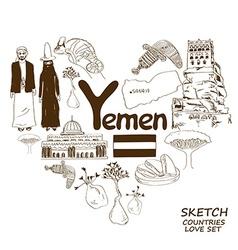 Yemen symbols in heart shape concept vector image vector image