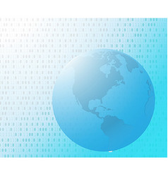 Binary code on world map vector image