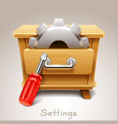 Wooden drawer for settings icon vector