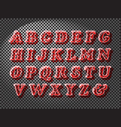 Realistic red glass font vector
