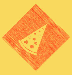 pizza simple sign  red scribble icon vector image