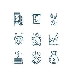 Money finance line icons set vector