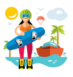 wakeboarding woman flat style colorful vector image
