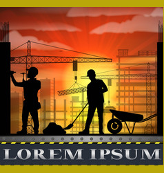 Under construction worker silhouette at sunset vector