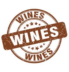Wines brown grunge round vintage rubber stamp vector