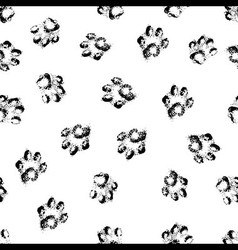 Paw grunge footprint of dog or cat seamless vector