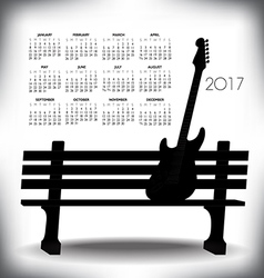 2017 Creative guitar calendar vector image vector image