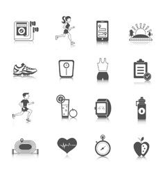 Jogging icons black vector