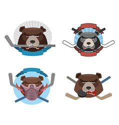 Hockey logo bear set muzzle animals with sticks vector