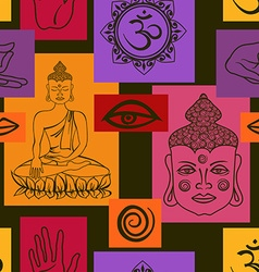 Seamless pattern of buddhism signs vector