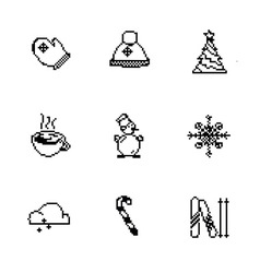 Christmas pixel style icons set vector